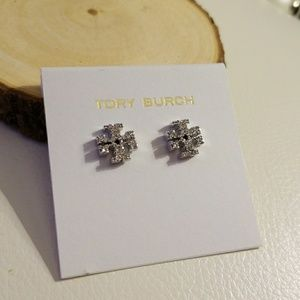 Tory Burch pave logo earrings silver
